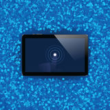 Digital tablet with shiny sensor screen with touch hand. Electronic smart device Royalty Free Stock Images