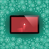 Digital tablet with shiny sensor screen with touch hand. Electronic smart device Royalty Free Stock Image