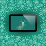 Digital tablet with shiny sensor screen with touch hand. Electronic smart device Royalty Free Stock Photography