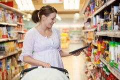 Digital Tablet Shopping List Stock Photos
