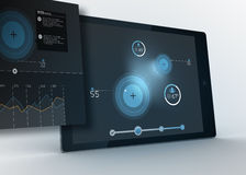 Digital tablet showing data and circles with projection Stock Images