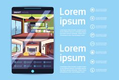 Digital Tablet With Smart House Interface, Modern Technology Of Home Automation Concept. Flat Vector Illustration Stock Images