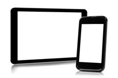 Digital tablet and smartphone isolated on white Stock Photos