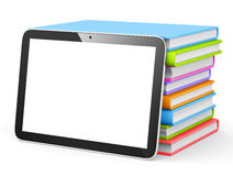Digital Tablet With Stack of Books Stock Image