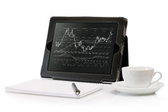 Digital Tablet with a stock chart Stock Photography