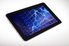 Digital Tablet with Stock Chart Diagram inside Stock Photo