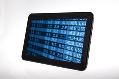 Digital Tablet with Stock Options Data. For invesment and strategy Royalty Free Stock Image