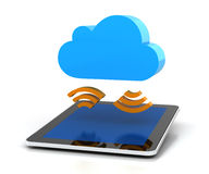 Digital tablet sycing with cloud Stock Images