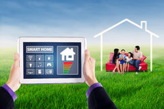 Digital tablet to control smart home Royalty Free Stock Photos