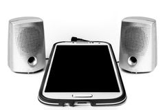 Digital-Tablet und Sprecher-leerer Bildschirm Stockbild