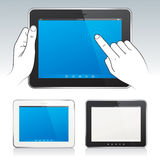 Digital tablets. Digital tablet PC with hands, blank screen, white and black color Stock Image