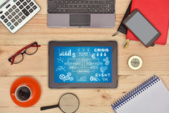 Digital-Tablette mit beginnen oben Konzept stockfoto