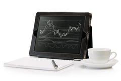 Digital-Tablette mit einem auf lagerdiagramm Stockfotografie
