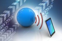 Digital-Tablette mit Erde und Symbol Wi-Fi Lizenzfreie Stockfotografie