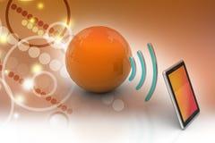 Digital-Tablette mit Erde und Symbol Wi-Fi Stockbild
