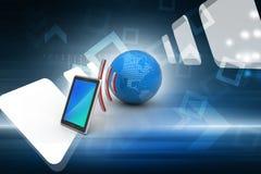 Digital-Tablette mit Erde und Symbol Wi-Fi Lizenzfreies Stockfoto