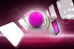 Digital-Tablette mit Erde und Symbol Wi-Fi Stockbilder