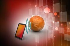 Digital-Tablette mit Erde und Symbol Wi-Fi Lizenzfreie Stockbilder