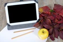 Digital-Tablette mit etwas Bleistiften und Apfel Lizenzfreie Stockfotos