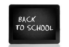 Digital-Tabletten-PC lokalisiert mit Schulbankanzeige, E-Learning-Konzept Lizenzfreies Stockfoto