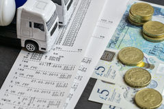 Digital tachograph print out day shift Stock Photo