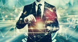 Digital Target with man holding a tablet Stock Photos