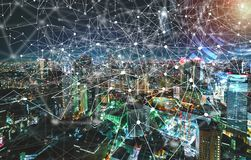 Digital Tech Circle with aerial view of Tokyo, Japan Royalty Free Stock Photo