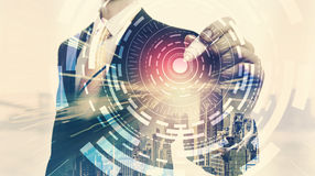 Digital Tech Circle with double exposure of businessman. And big city stock illustration