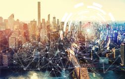 Digital Tech Circle with the New York City Royalty Free Stock Photo