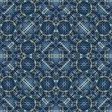 Squares and Circles Motif Tech Seamless Pattern. Digital technique squares and circles motif decorative geometric ornate seamless pattern design in blue colors stock illustration