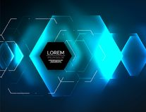 Digital techno abstract background, glowing hexagons. Vector geometric hi-tech background with shiny light effects and figures, blue color Stock Illustration
