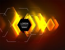 Digital techno abstract background, glowing hexagons. Vector geometric hi-tech background with shiny light effects and figures, orange yellow color Royalty Free Stock Images