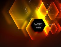 Digital techno abstract background, glowing hexagons. Vector geometric hi-tech background with shiny light effects and figures, orange yellow color Royalty Free Stock Photos