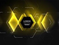 Digital techno abstract background, glowing hexagons. Vector geometric hi-tech background with shiny light effects and figures, yellow color Royalty Free Stock Image