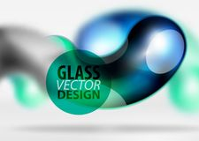 Digital techno abstract background, grey 3d space with glass curvy bubble. Digital techno abstract background, grey 3d space with blue glass curvy bubble. Vector Stock Image