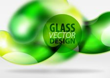Digital techno abstract background, grey 3d space with glass curvy bubble. Digital green techno abstract background, grey 3d space with glass curvy bubble Royalty Free Stock Image