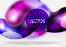 Digital techno abstract background, grey 3d space with glass curvy bubble. Digital techno abstract background, grey 3d space with purple glass curvy bubble Royalty Free Stock Photos
