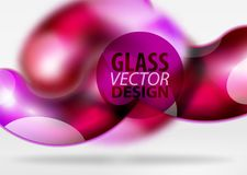 Digital techno abstract background, grey 3d space with glass curvy bubble. Digital techno abstract background, grey 3d space with red glass curvy bubble. Vector Royalty Free Stock Photos