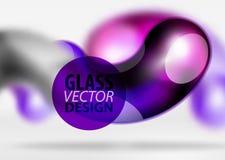 Digital-techno Zusammenfassungshintergrund, grauer Raum 3d mit curvy Glasblase Lizenzfreie Stockfotografie