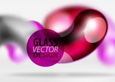 Digital-techno Zusammenfassungshintergrund, grauer Raum 3d mit curvy Glasblase Stockfotografie