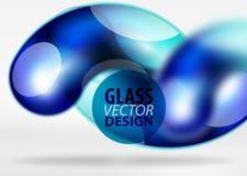 Digital-techno Zusammenfassungshintergrund, grauer Raum 3d mit curvy Glasblase Lizenzfreie Stockfotos