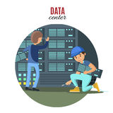 Digital Technologic Concept. With engineers connecting and checking cloud servers in data center vector illustration Stock Image