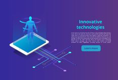 Digital technologies. Monitoring and testing of the digital process, business analysis. Modern design isometric concept stock illustration