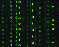 Digital technology and abstract binary code background Royalty Free Stock Photos