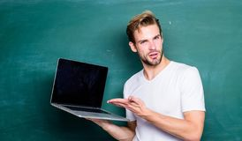 Digital technology. Apply online course for programmers. Programming web development. Student learn programming language. School teacher programming with royalty free stock image