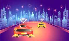 Digital technology concept, urban lanscape with autonomous vehicle on road with multiple smart services app. Futuristic design. vector illustration
