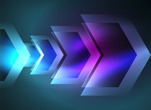 Digital technology glowing arrows. Digital technology glowing blue arrows, modern geometric abstract background with light effects and place for your message Royalty Free Stock Photos