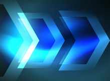 Digital technology glowing arrows. Digital technology glowing blue arrows, modern geometric abstract background with light effects and place for your message Royalty Free Stock Photography