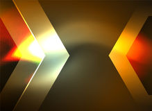 Digital technology glowing arrows. Modern geometric abstract background with light effects and place for your message Royalty Free Stock Images