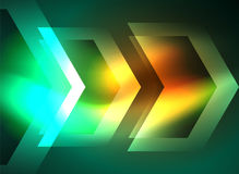 Digital technology glowing arrows. Modern geometric abstract background with light effects and place for your message Stock Photo